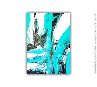Tableau abstrait : Bleu cascade