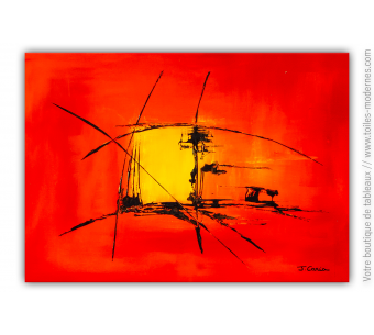 Tableau abstrait rouge : Winter in the sun