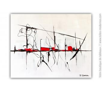 Peinture abstraite épurée pour déco en gris : Ballade en ville