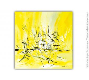 Tableau contemporain jaune lumineux pour déco moderne : Douce euphorie