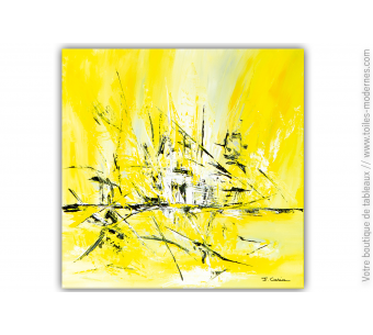 Tableau abstrait XXL jaune : Douce euphorie