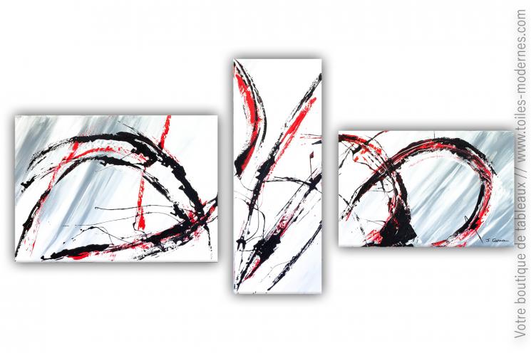 Tableau gris et blanc plusieurs toiles : Fougue