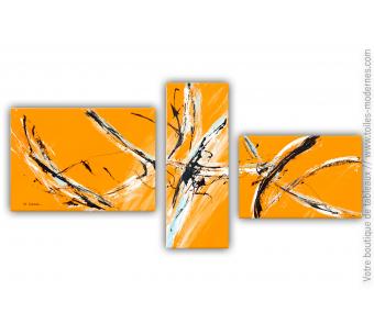 Tableau orange en plusieurs toiles : Palpitations