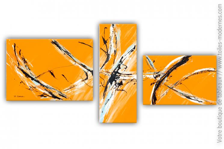 Grand tableau orange d'art contemporain : Palpitations
