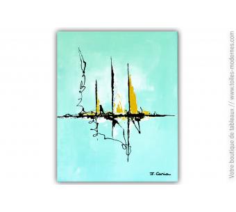 Déco vert d'eau avec un tableau moderne : Douce aventure