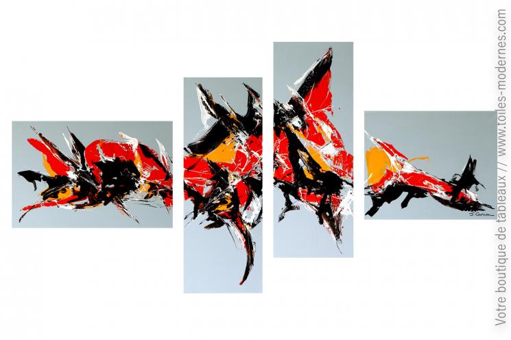 Tableau gris XXL multi panneaux moderne : L'irréel
