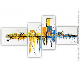 Tableaux colorés sur plusieurs toiles  pour déco unique : Rêve d'un voyage