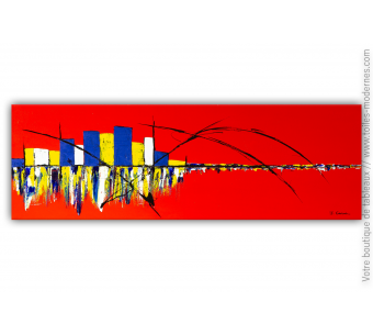 Tableau rouge vif XXL : Une vie merveilleuse