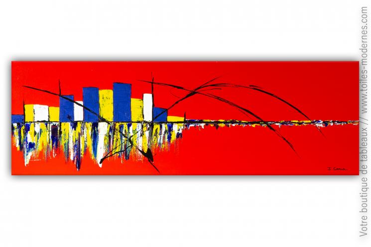 déco murale rouge design avec un tableau d'art contemporain  : Une vie merveilleuse