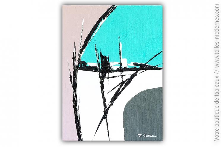 Déco bleu turquoise et taupe avec un tableau abstrait : Nostalgie