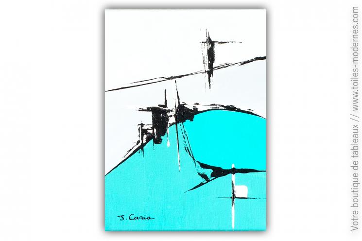 Déco bleu et vert turquoise avec un tableau abstrait  : Approche