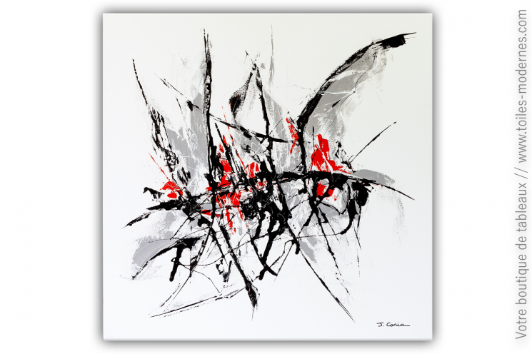 Déco blanche contemporaine avec un très grand tableau abstrait : Dernière pensée