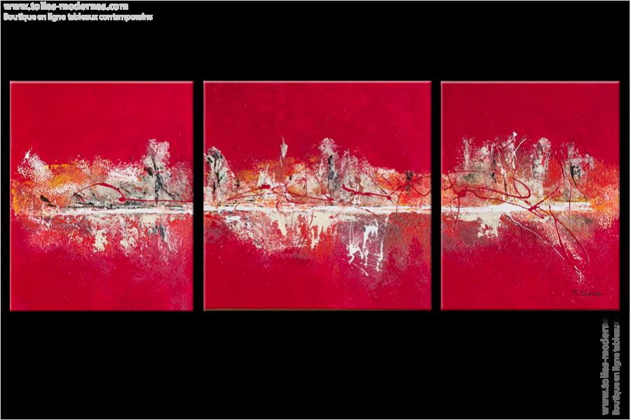 triptyque abstrait rouge flah panoramique tableaux modernes rouge rectangle. Black Bedroom Furniture Sets. Home Design Ideas