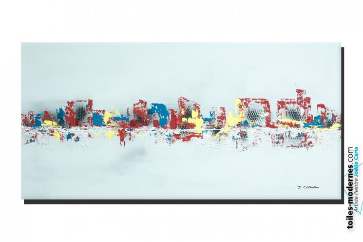 grande déco murale gris clair d'art abstrait : Départ