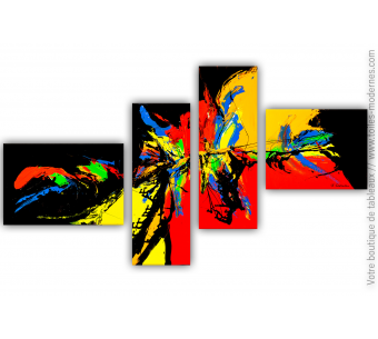 Tableau polyptyque noir : Emerveillement