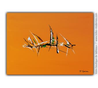 Déco orange moderne avec un tableau artistique : Mes rêves