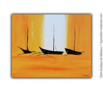Grande peinture marine orange : Belle échappée