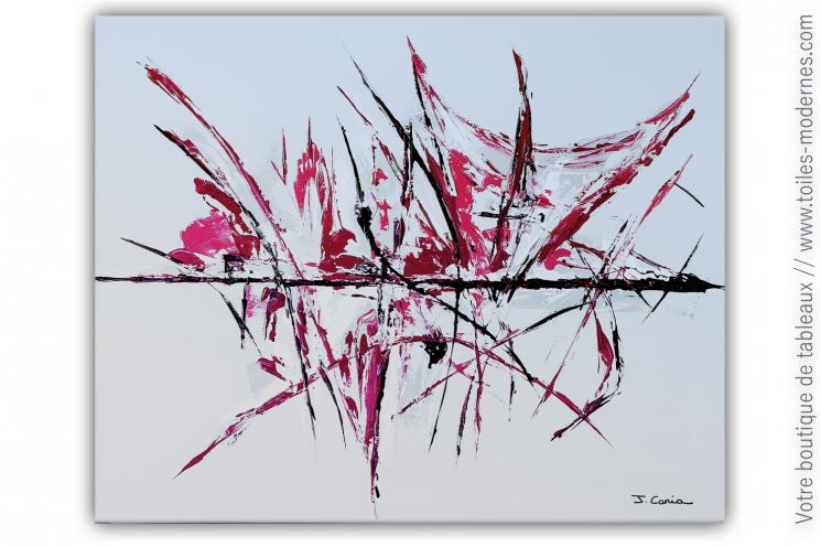 Déco fuchsia et gris avec un tableau moderne : Joie secrète