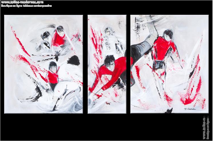 Triptyque abstrait figuratif les battants gris rouge for Tableau cuisine rouge