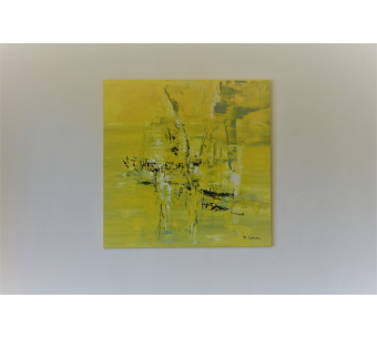 Tableau abstrait jaune grand format : Sourire du printemps
