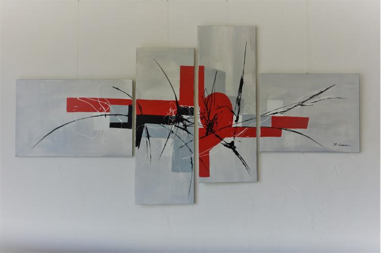 Tableau gris design en plusieurs panneaux : Force imperturbable