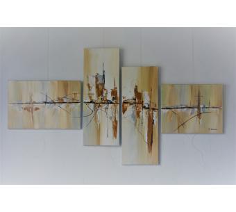 Déco beige et marron avec une peinture douce : Voyage immobile