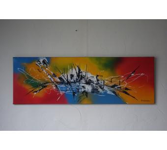 Tableau moderne multicolore : Le magicien des couleurs