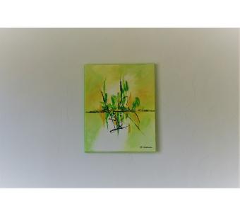 Tableau vert anis abstrait : Un brin de candeur
