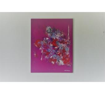 Déco fuchsia moderne avec un tableau rose vif : Délicate attention