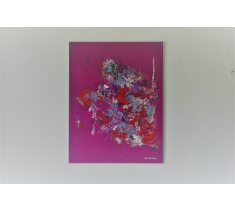 Tableau fuchsia abstrait : Délicate attention