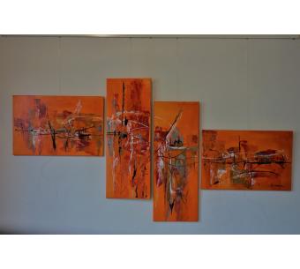Tableau polyptyque orange : Un rêve palpitant