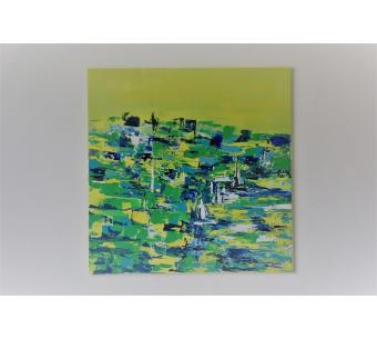 Déco en vert et bleu avec une toile contempoaine : Se pétrir d'un voyage