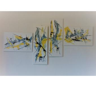 Grand tableau blanc abstrait : Insouciance