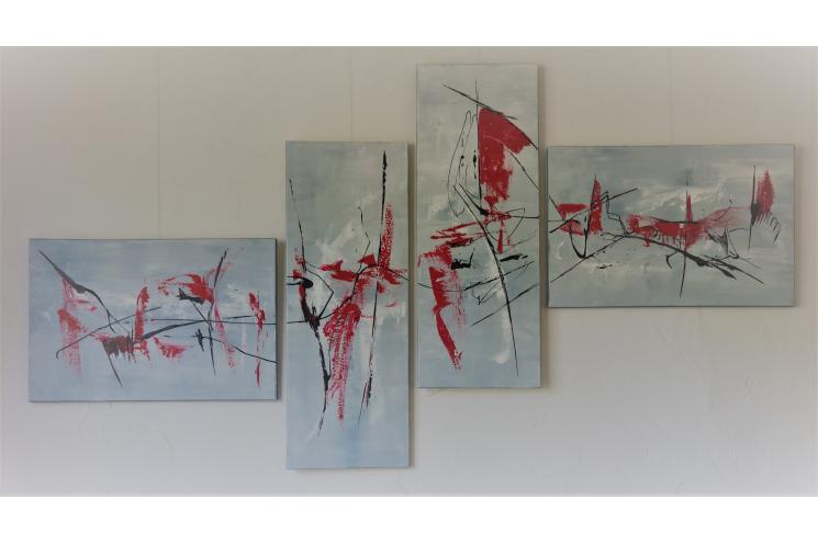 Déco minimaliste avec un tableau gris contemporain : Détachement