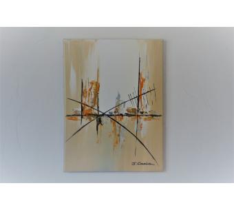 Déco marron beige avec un tableau abstrait unique : Douce soirée