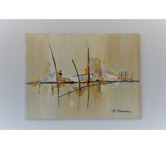 Déco beige marron avec un tableau contemporain pas cher: Je me souviens