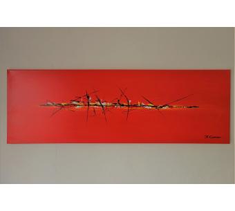 Déco colorée avec un grand tableau rouge : Pays chaud
