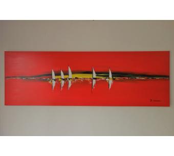 Tableau rouge marine : Ballade Journée en mer
