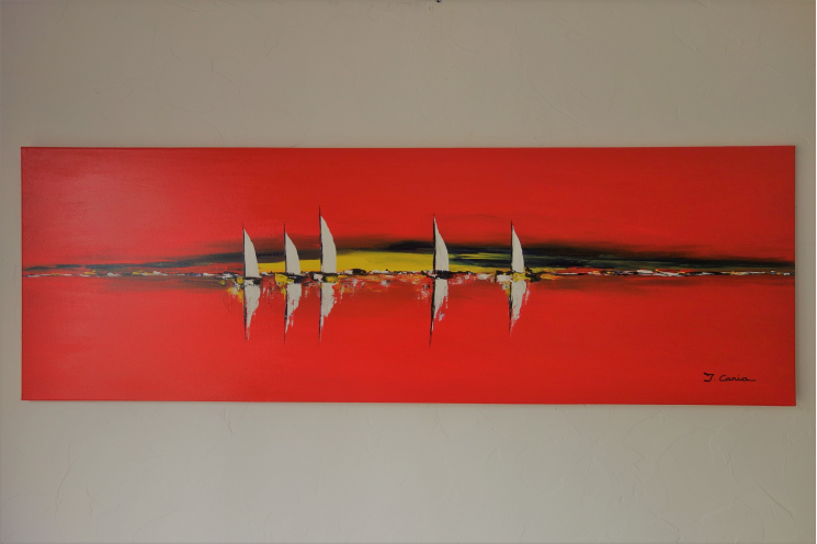 Déco bord de mer moderne avec un tableau rouge XXL : Ballade Journée en mer