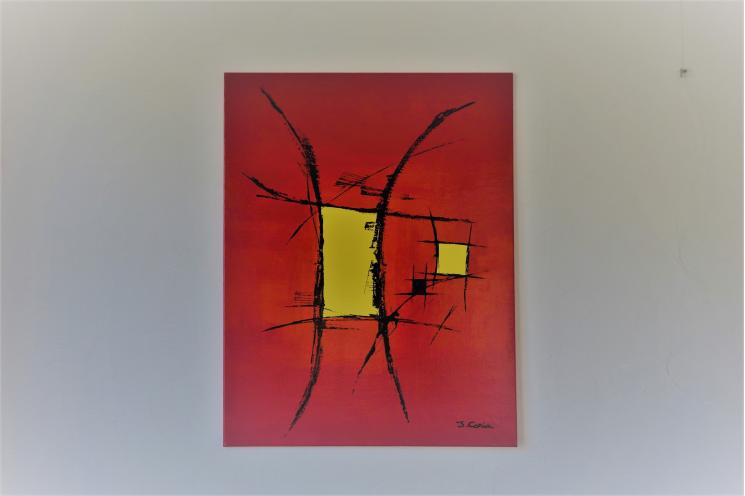 Déco colorée avec un tableau rouge vif moderne : Au coeur des émotions