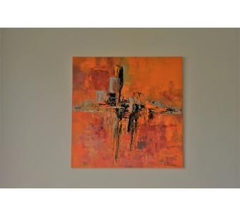 Tableau orange abstrait : Le monde se réveille