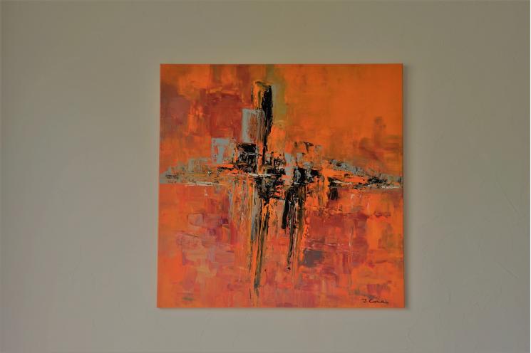 Tableau orange d'art contemporain : Le monde se réveille
