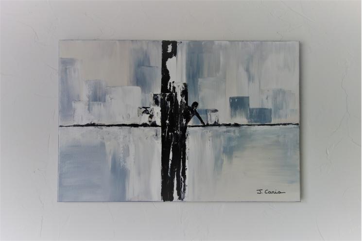 Déco murale en gris avec un tableau moderne : L'appel
