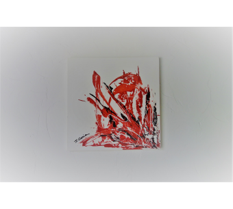 Tableau rouge et blanc : Un souffle d'amour