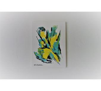 Tableau jaune et gris : Un éclair sublime
