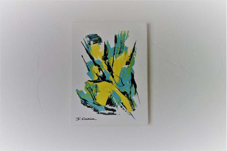 Déco murale  jaune et gris avec une tableau abstrait : Un éclair sublime