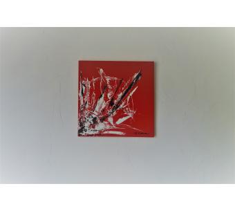Tableau rouge contemporain : L'art du bonheur