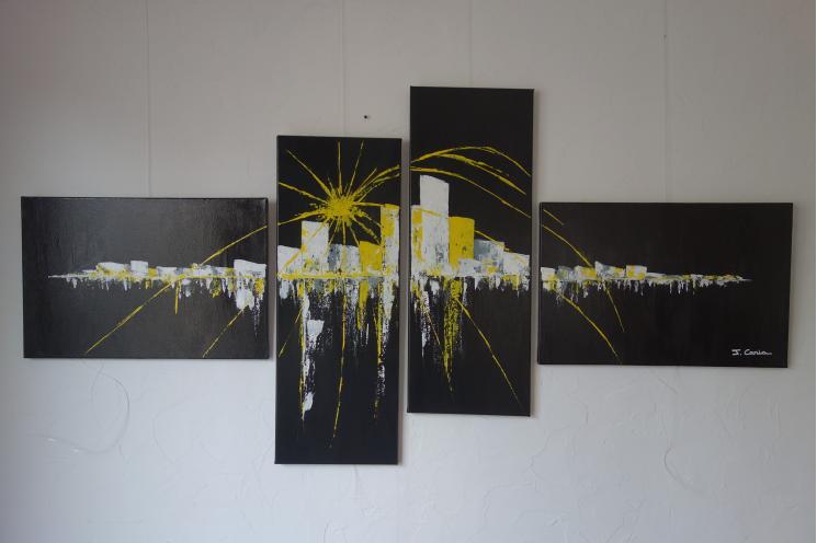Objet déco jaune et noit pour déco design : Soleil de minuit