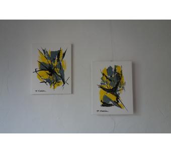 Tableaux jaunes et gris : La vie insouciante