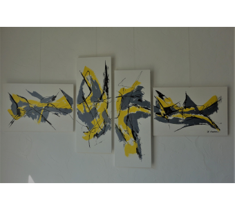 Déco jaune et gris avec un grand tableau blanc : Frivolité